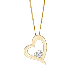 9ct Yellow Gold & Diamond Double Heart Pendant - Product number 3057739