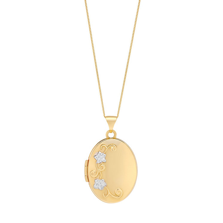 9ct Yellow Gold 18 Embossed Flower Design Oval Locket
