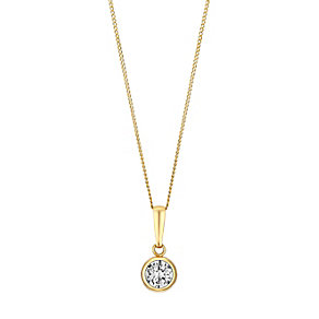9ct Yellow Gold Rubover Cubic Zirconia Solitaire Pendant - Product number 3057852