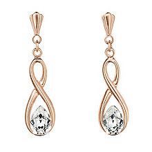 9ct Rose Gold Cubic Zirconia Figure of 8 Drop Earrings - Product number 3057887