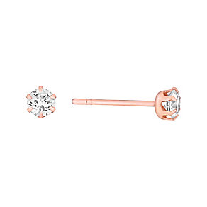 9ct Rose Gold & Cubic Zirconia 3mm Round Stud Earrings - Product number 3057895