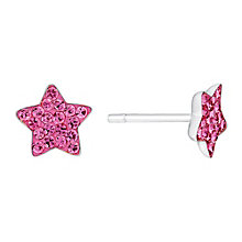 Children's Sterling Silver & Pink Crystal Star Stud Earrings - Product number 3057976
