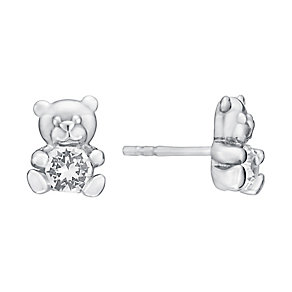 Children's Silver & Swarovski Crystal Teddy Bear Earrings - Product number 3058018