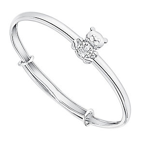 Children's Silver & Swarovski Crystal Teddy Bear Bangle - Product number 3058026