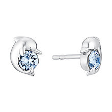 Children's Silver & Blue Swarovski Crystal Dolphin Earrings - Product number 3058077