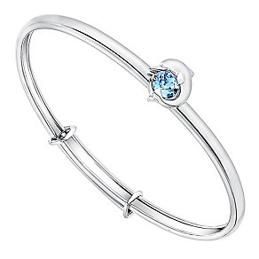 Children's Silver & Blue Swarovski Crystal Dolphin Bangle - Product number 3058085