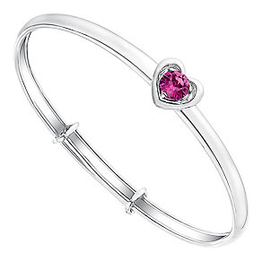 Children's Silver & Pink Swarovski Crystal Heart Bangle - Product number 3058239