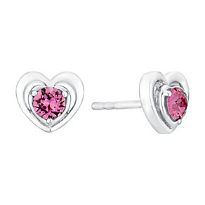 Children's Silver & Pink Swarovski Crystal Heart Earrings - Product number 3058301