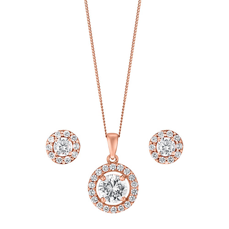 9ct Rose Gold & Cubic Zirconia Halo Earring & Pendant Set - Product number 3058328