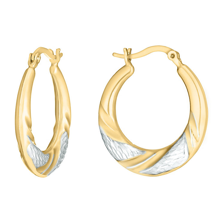 Together Bonded Silver & 9ct Gold Creole Hoop Earrings - Product number 3058336