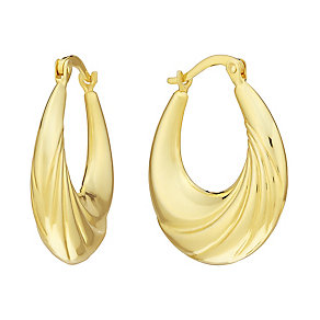 Together Bonded Silver & 9ct Gold Oval Creole Hoop Earrings - Product number 3058352