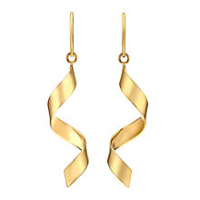 Together Bonded Silver & 9ct Yellow Gold Twist Drop Earrings - Product number 3058360
