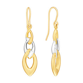 Together Bonded Silver & 9ct Yellow Gold Trio Drop Earrings - Product number 3058387