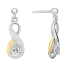 Silver & 9ct Yellow Gold Cubic Zirconia Drop Earrings - Product number 3058433