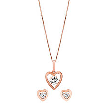 9ct Rose Gold & Cubic Zirconia Heart Earring & Pendant Set - Product number 3058476