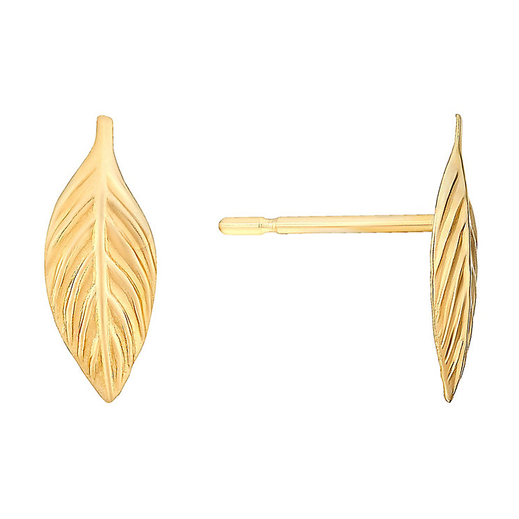 9ct Yellow Gold Leaf Designs Stud Earrings - Product number 3058484