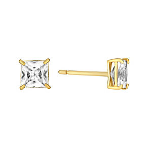 9ct Yellow Gold & Cubic Zirconia 5mm Square Stud Earrings - Product number 3058549
