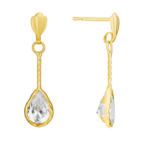 9ct Yellow Gold Cubic Zirconia Teardrop Twist Drop Earrings - Product number 3058670