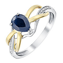 Silver & 9ct Yellow Gold Diamond & Sapphire Twist Ring - Product number 3058697