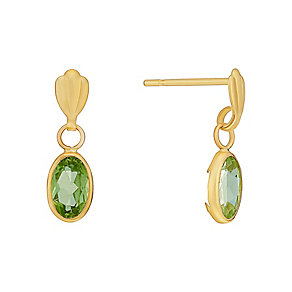 9ct Yellow Gold & Oval Peridot Drop Earrings - Product number 3058824