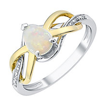 9ct Gold and Silver Opal and Diamond Set Ring - Product number 3058832