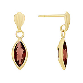 9ct Yellow Gold & Teardrop Garnet Earrings - Product number 3059030