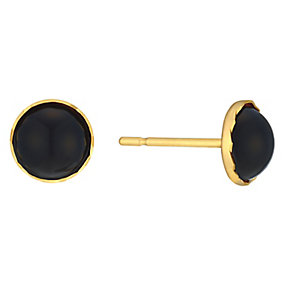 9ct Yellow Gold & Onyx Round Stud Earrings - Product number 3059251