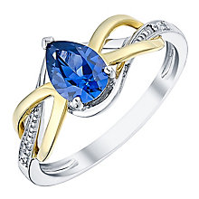 Silver & 9ct Yellow Gold Diamond & Created Tanzanite Ring - Product number 3059278