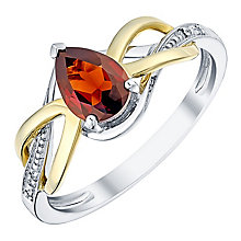 9ct Yellow Gold Silver Garnet & Diamond Ring - Product number 3059405