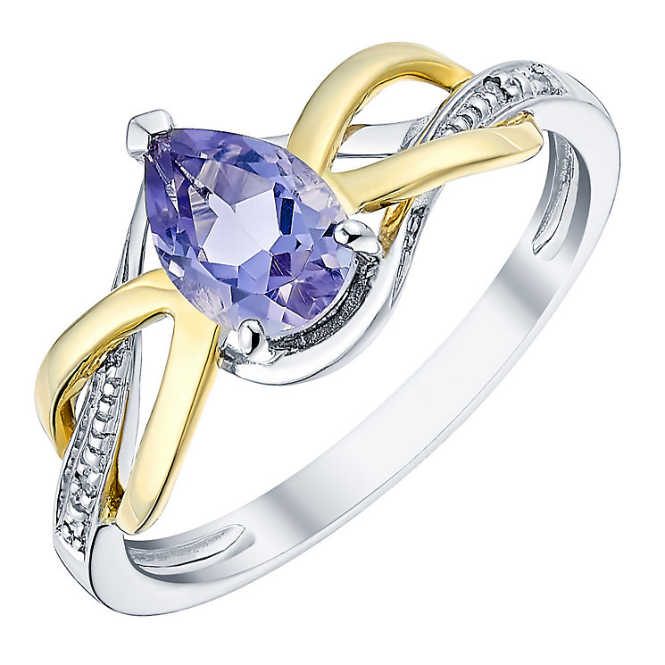 Silver 9ct Yellow Gold Amethyst and Diamond Ring - Product number 3059561
