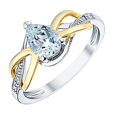 9ct Yellow Gold Silver and Diamond Aquamarine Ring - Product number 3059804