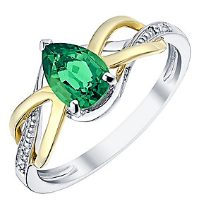 9ct Yellow Gold Silver and Created Emerald Ring - Product number 3059979