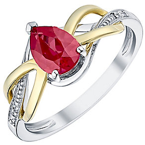 Sterling Silver & 9ct Gold Created Ruby & Diamond Ring - Product number 3060144