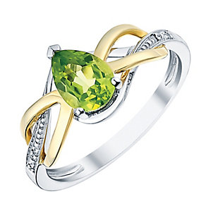 Sterling Silver & 9ct Gold Peridot & Diamond Ring - Product number 3060314
