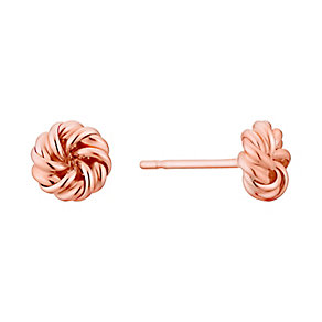 9ct Rose Gold Twisting Knot Stud Earrings - Product number 3060454