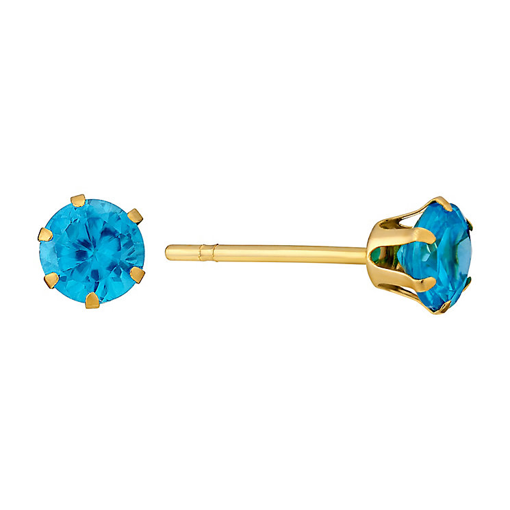 9ct Yellow Gold & Turquoise Cubic Zirconia Stud Earrings - Product number 3060659