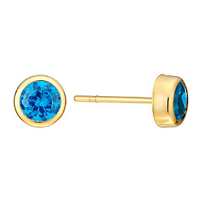 9ct Yellow Gold & Turquoise Cubic Zirconia Stud Earrings - Product number 3060667