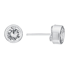 9ct White Gold & Clear Cubic Zirconia Rubover Stud Earrings - Product number 3060683