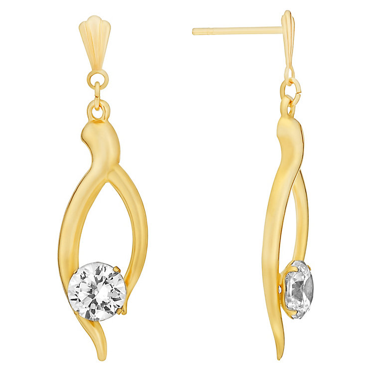 9ct Yellow Gold & Cubic Zirconia Drop Earrings - Product number 3060713