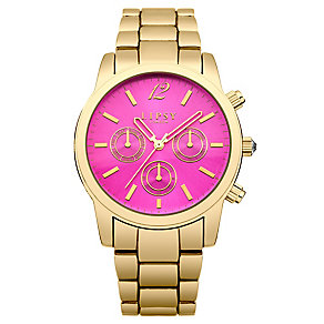 Lipsy Ladies' Hot Pink Dial & Yellow Gold Tone Watch - Product number 3060721