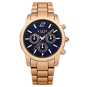 Lipsy Ladies' Navy Dial & Rose Gold Tone Bracelet Watch - Product number 3060764