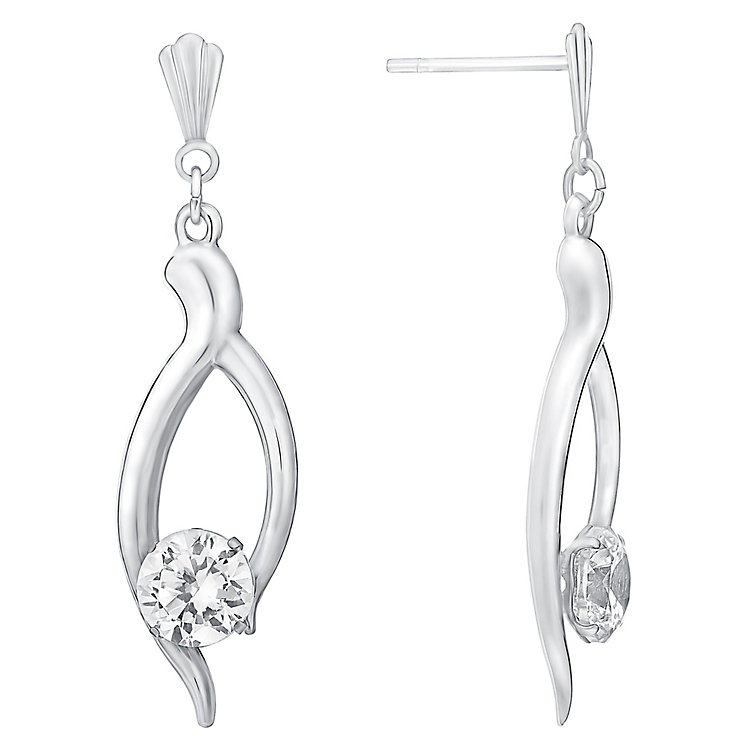 9ct White Gold & Cubic Zirconia Drop Earrings - Product number 3060780