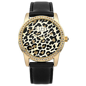 Lipsy Ladies' Leopard Print & Black Leather Look Watch - Product number 3060829