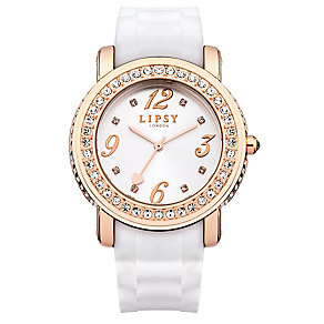 Lipsy Ladies' Rose Gold Tone & White Silicone Strap Watch - Product number 3060837