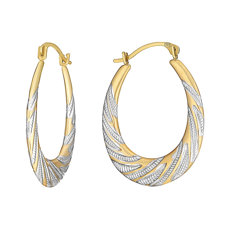 9ct Yellow Gold Two Tone Creole Stripe Hoop Earrings - Product number 3060942