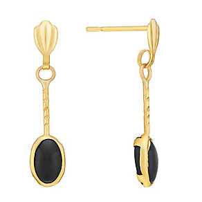 9ct Yellow Gold & Onyx Oval Twist Drop Earrings - Product number 3061140