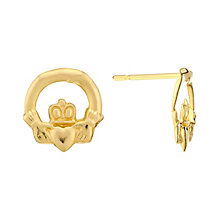 9ct Yellow Gold Claddaugh Stud Earrings - Product number 3061167