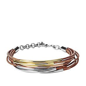 Fossil ladies' brass & brown leather vintage bracelet - Product number 3061183