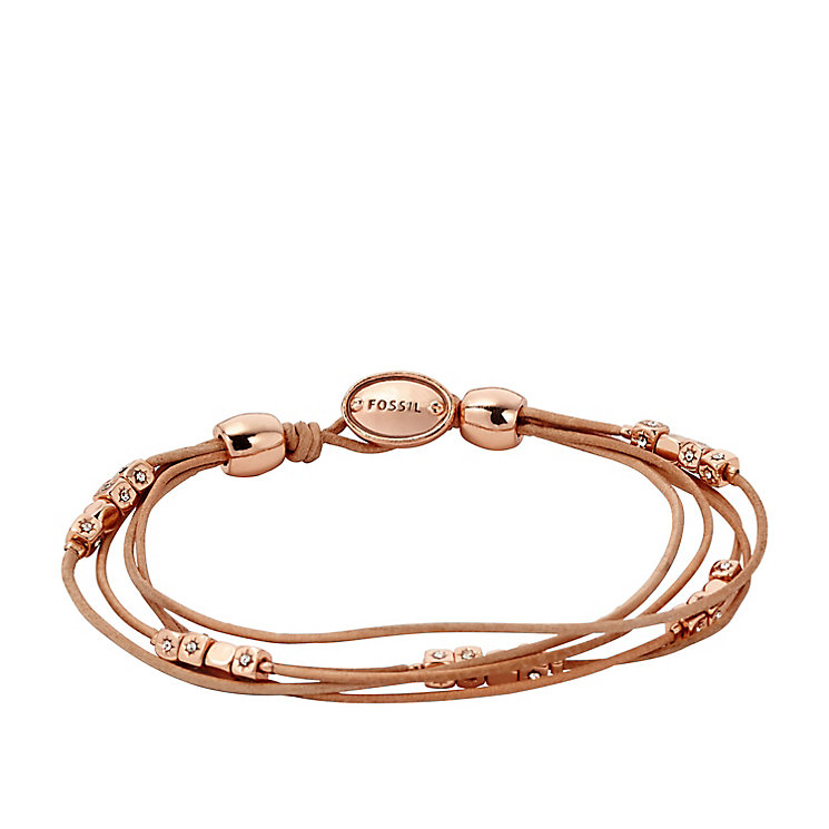 Fossil rose gold-tone & leather bracelet - Product number 3061213