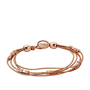 Fossil rose gold-plated & leather bracelet - Product number 3061213